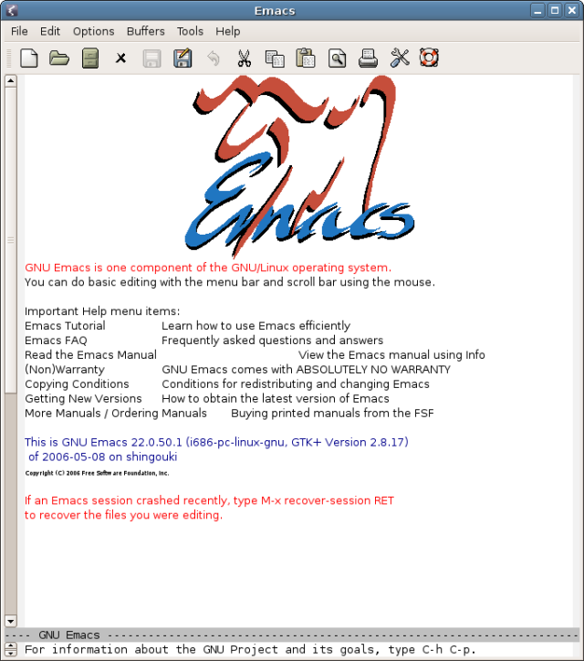 GNU Emacs with GTK toolkit