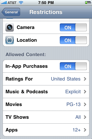 iPhone App restrictions allow in-app purchases